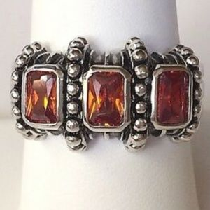 Silver Celtic Cable Topaz Cocktail Ring Size 11